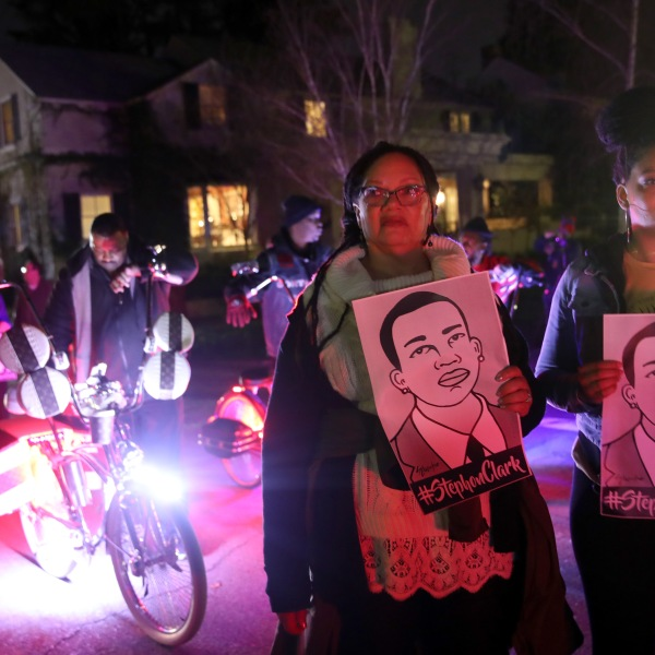 Black Lives Matter protesters march through the streets as they demonstrate the decision by Sacramento District Attorney to not charge the Sacramento police officers who shot and killed Stephon Clark last year on March 4, 2019 in Sacramento. (Credit: Justin Sullivan/Getty Images)