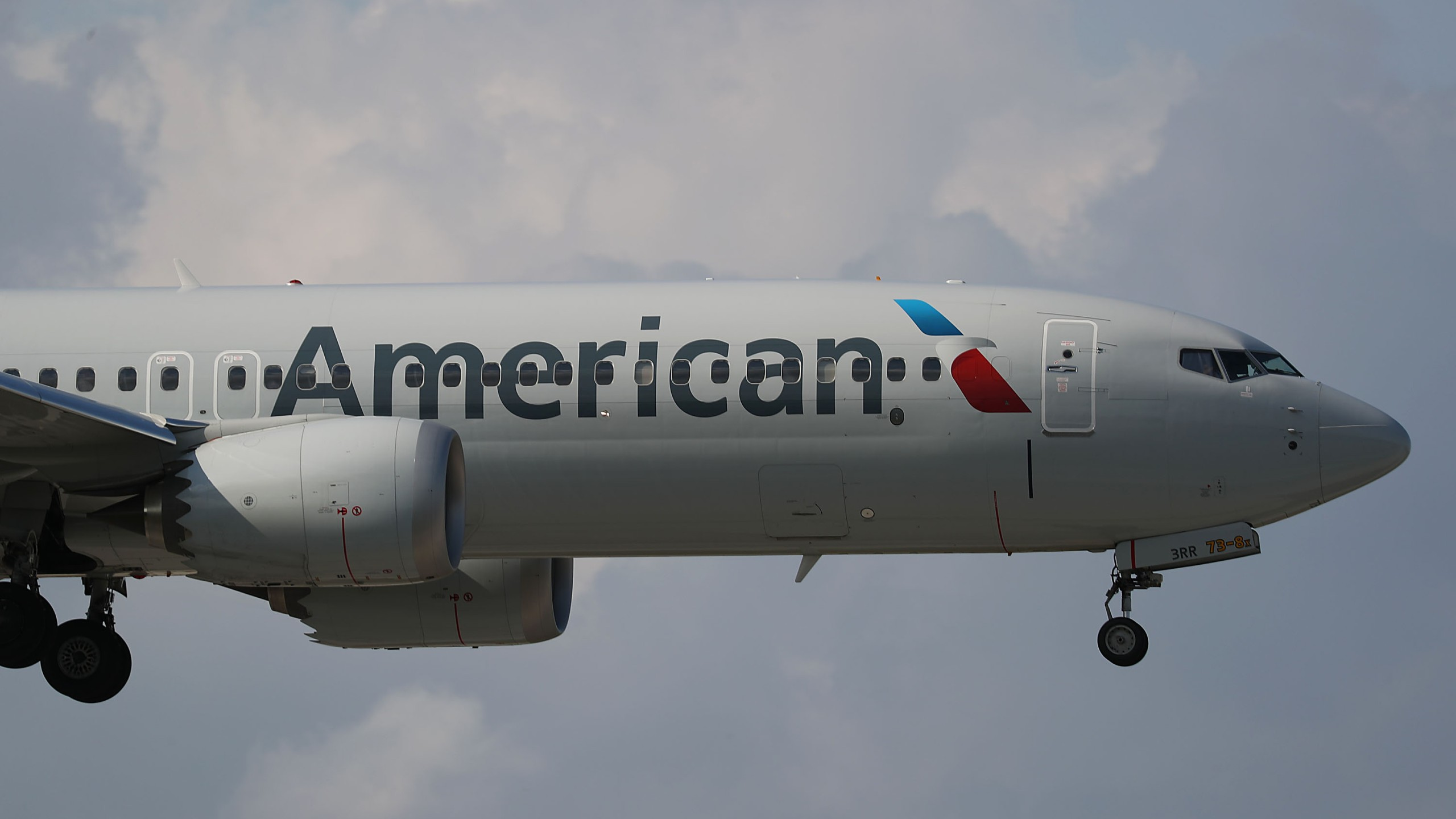 An American Airlines Boeing 737 Max 8 prepares to land at the Miami International Airport on March 12, 2019. (Credit: Joe Raedle/Getty Images)