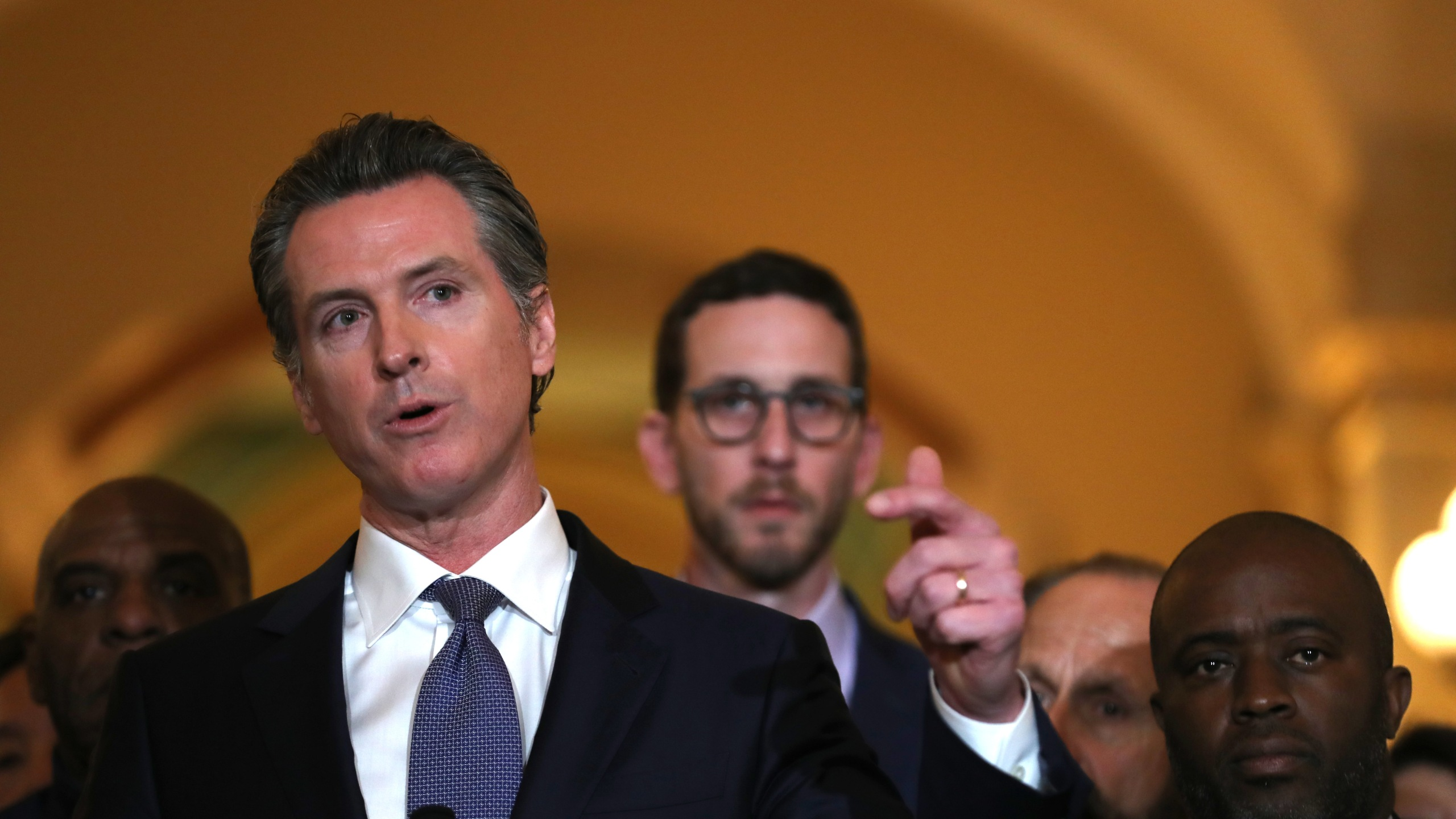 California Gov. Gavin Newsom speaks during a news conference at the state Capitol in Sacramento on March 13, 2019. (Credit: Justin Sullivan / Getty Images)
