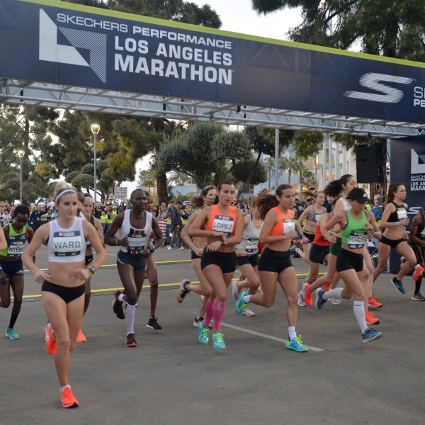 Women elite runners take their mark in the 34th annual Los Angeles Marathon on March 24, 2019. (Credit: Jerod Harris/Getty Images for Conqur Endurance Group)