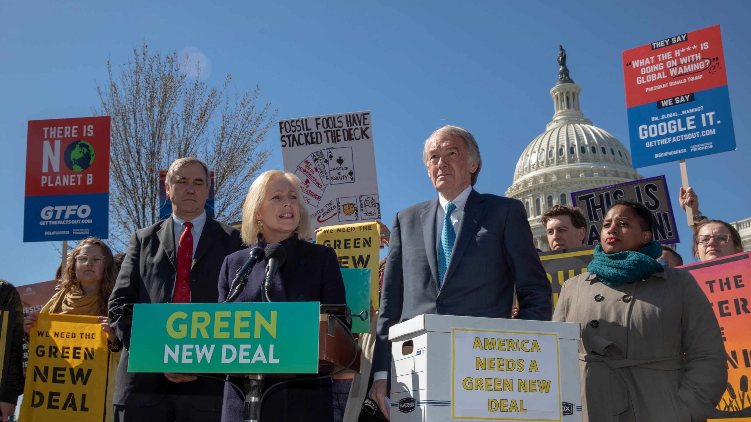 Senator Kirsten Gillibrand (D-NY) talks about the Green New Deal on Capitol Hill on March 26, 2019 (Credit: Tasos Katopodis/Getty Images)