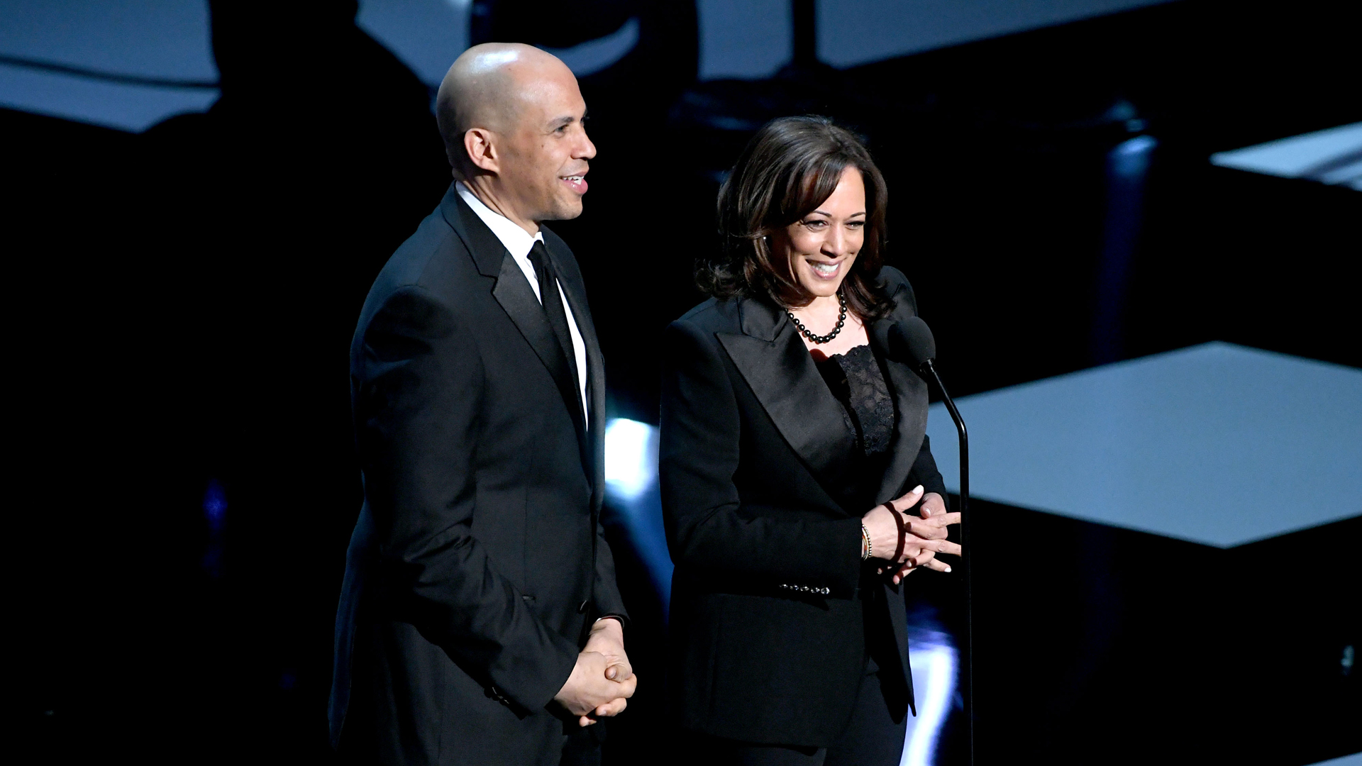 Cory Booker and Kamala Harris speak onstage at the 50th NAACP Image Awards at Dolby Theatre on March 30, 2019, in Hollywood. (Credit: Kevin Winter/Getty Images)