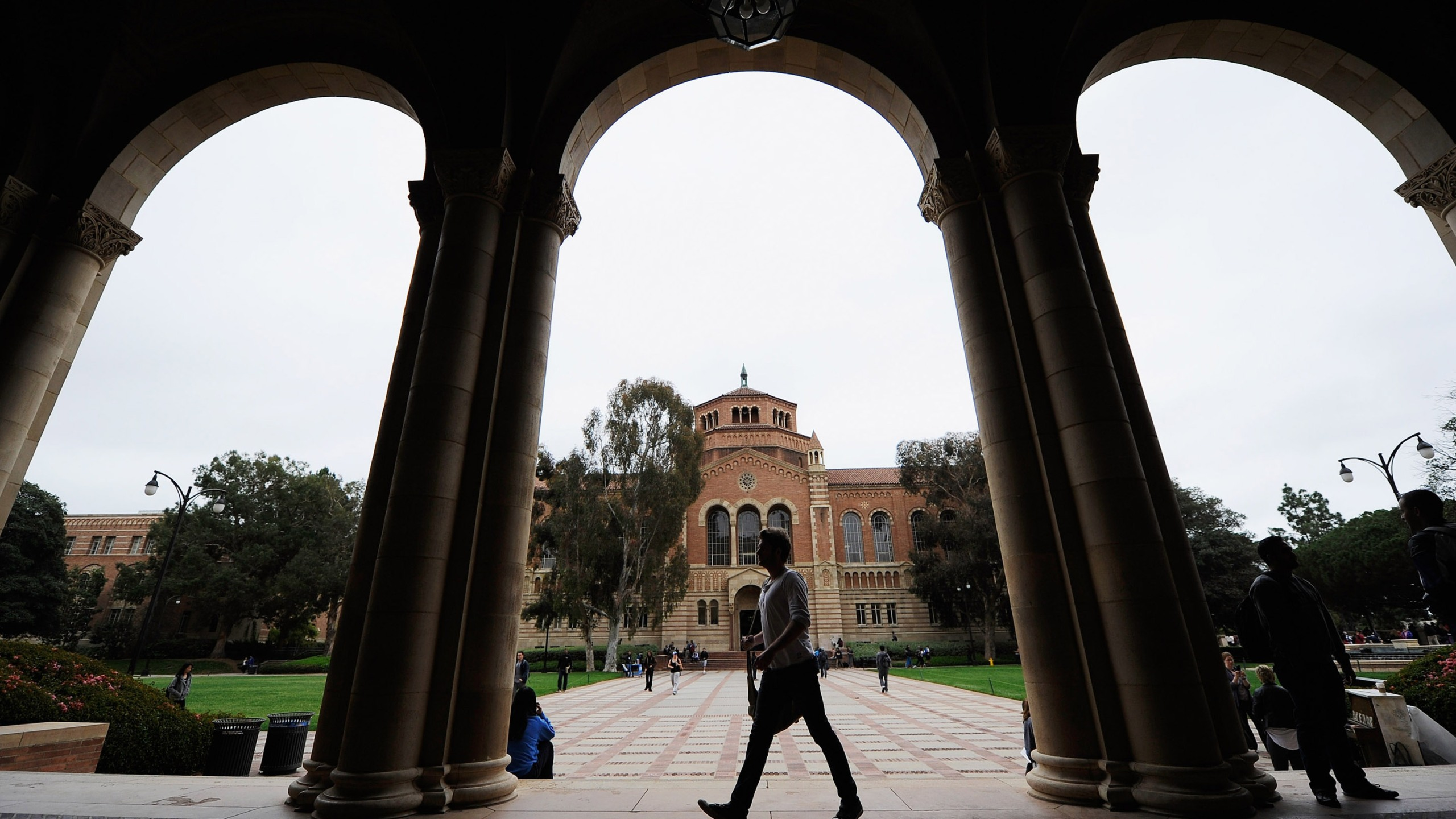 A student walks near Royce Hall on the UCLA campus on April 23, 2012, in Los Angeles. (Credit: Kevork Djansezian/Getty Images)