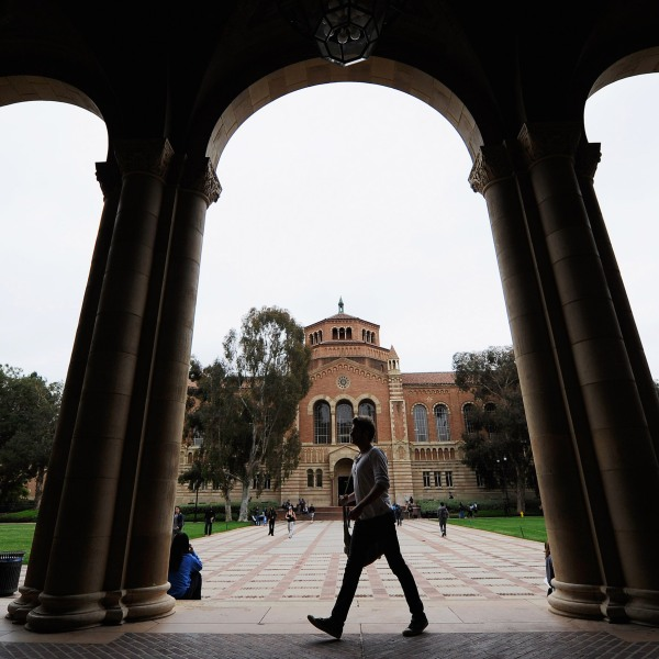 A student walks near Royce Hall on the UCLA campus on April 23, 2012. (Kevork Djansezian/Getty Images)