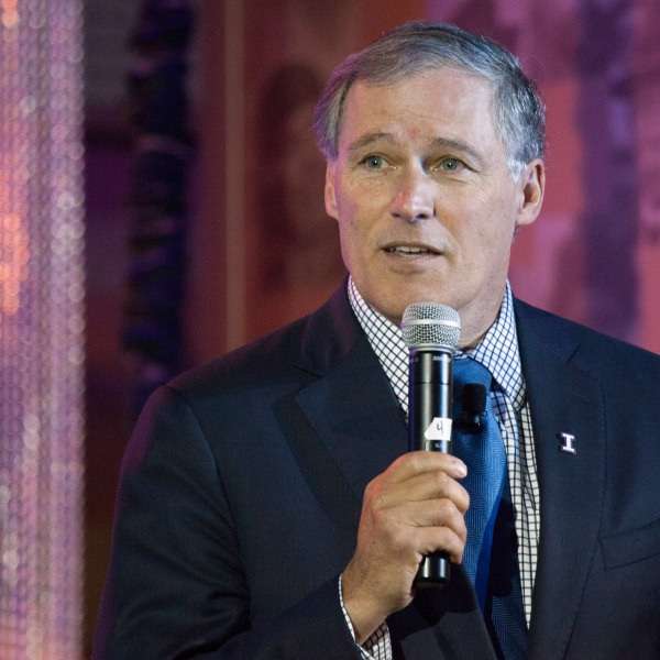 Washington Governor Jay Inslee addresses the crowd during a launch event for the Bezos Center for Innovation at the Museum of History and Industry on October 11, 2013 in Seattle, Washington. (Credit: David Ryder/Getty Images)