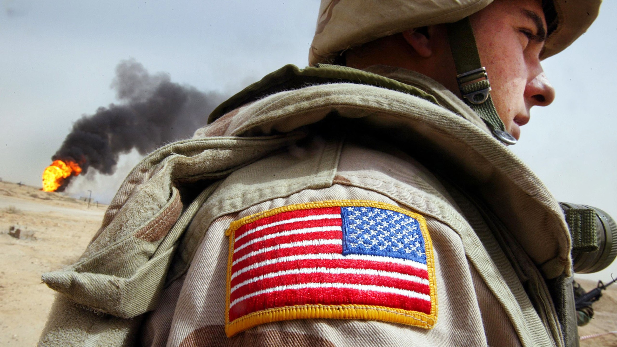 A file photo shows a U.S. flag patch on an American soldier's uniform. (Credit: Mario Tama/Getty Images)