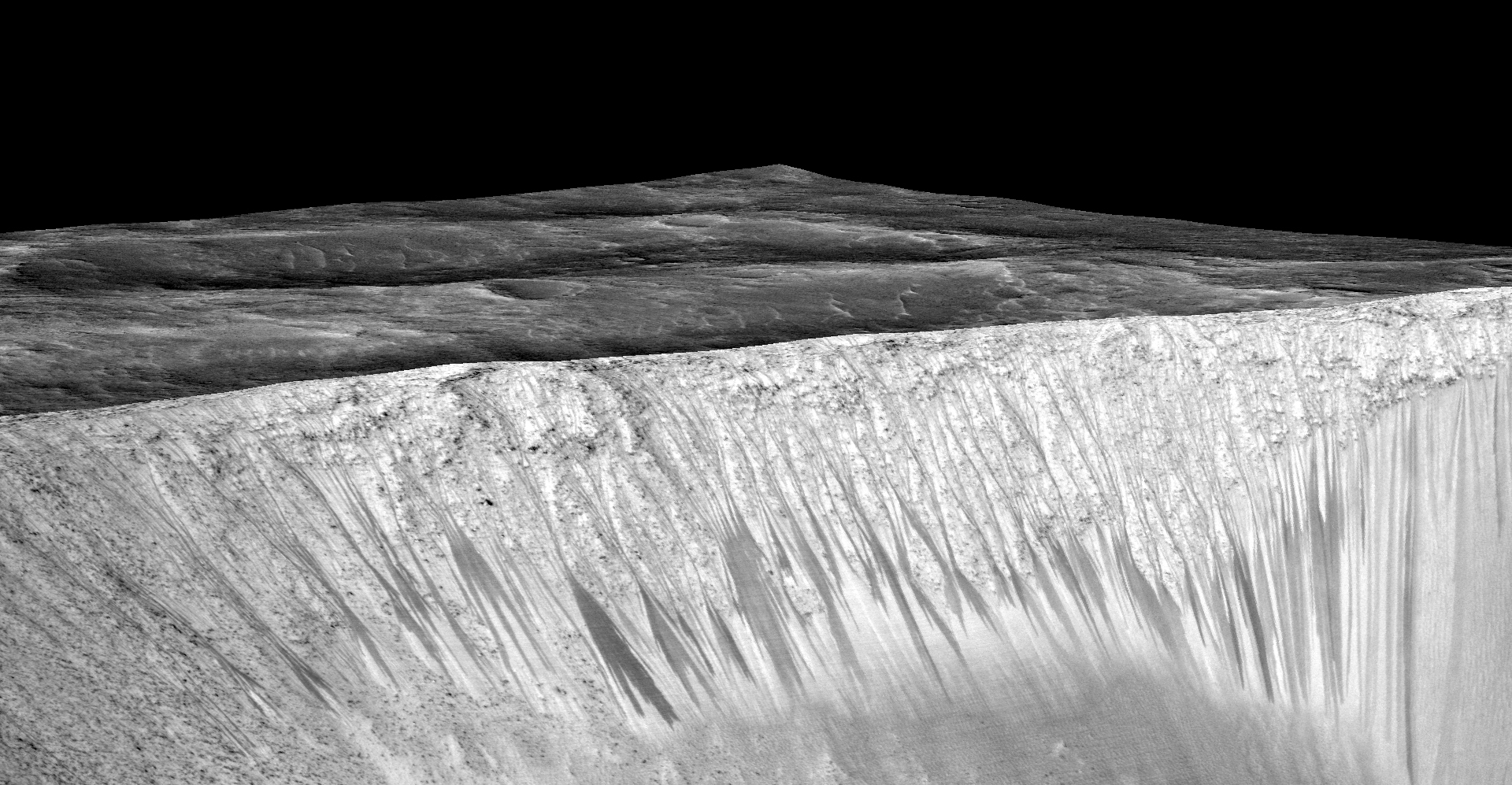 In this handout provided by NASA's Mars Reconnaissance Orbiter, dark, narrow streaks on the slopes of Garni Crater are inferred to be formed by seasonal flow of water on surface of present-day Mars