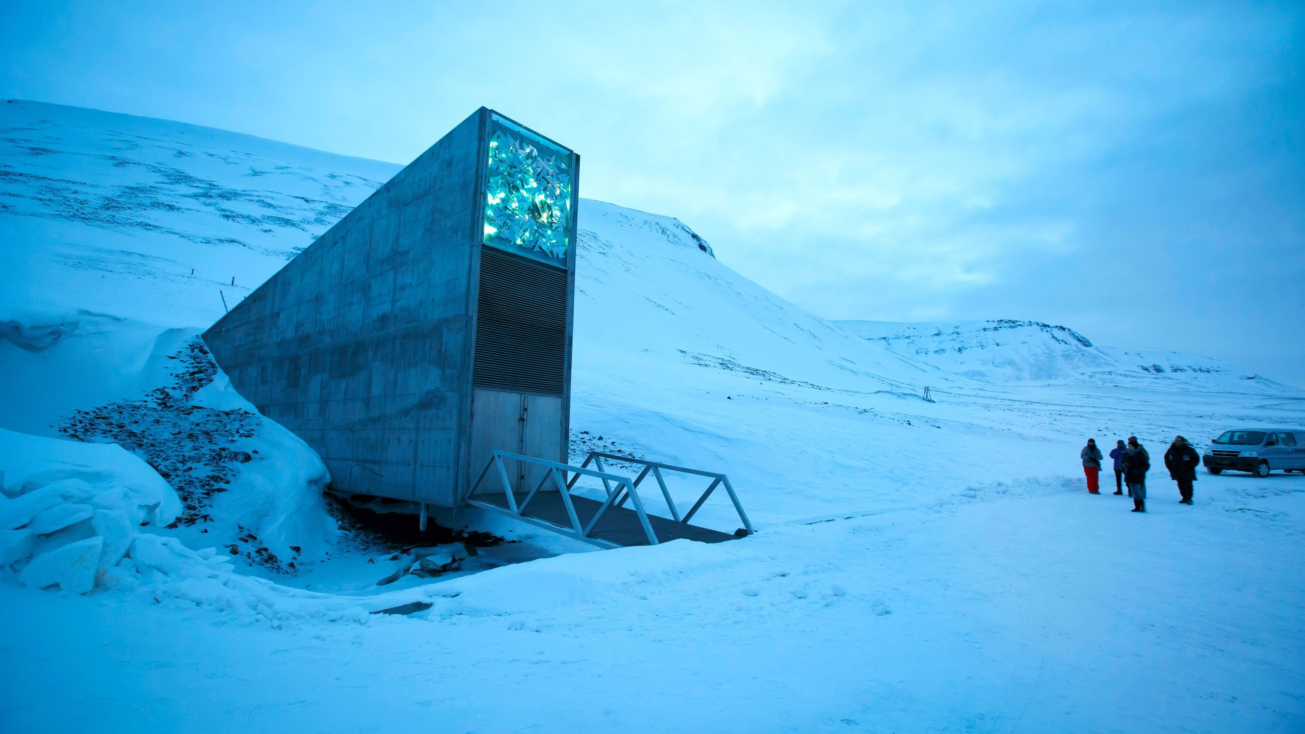 A general view of the entrance of the international gene bank Svalbard Global Seed Vault, outside Longyearbyen in Spitsbergen, Norway, on Feb. 29, 2016. (Credit: Junge, Heiko/AFP/Getty Images)