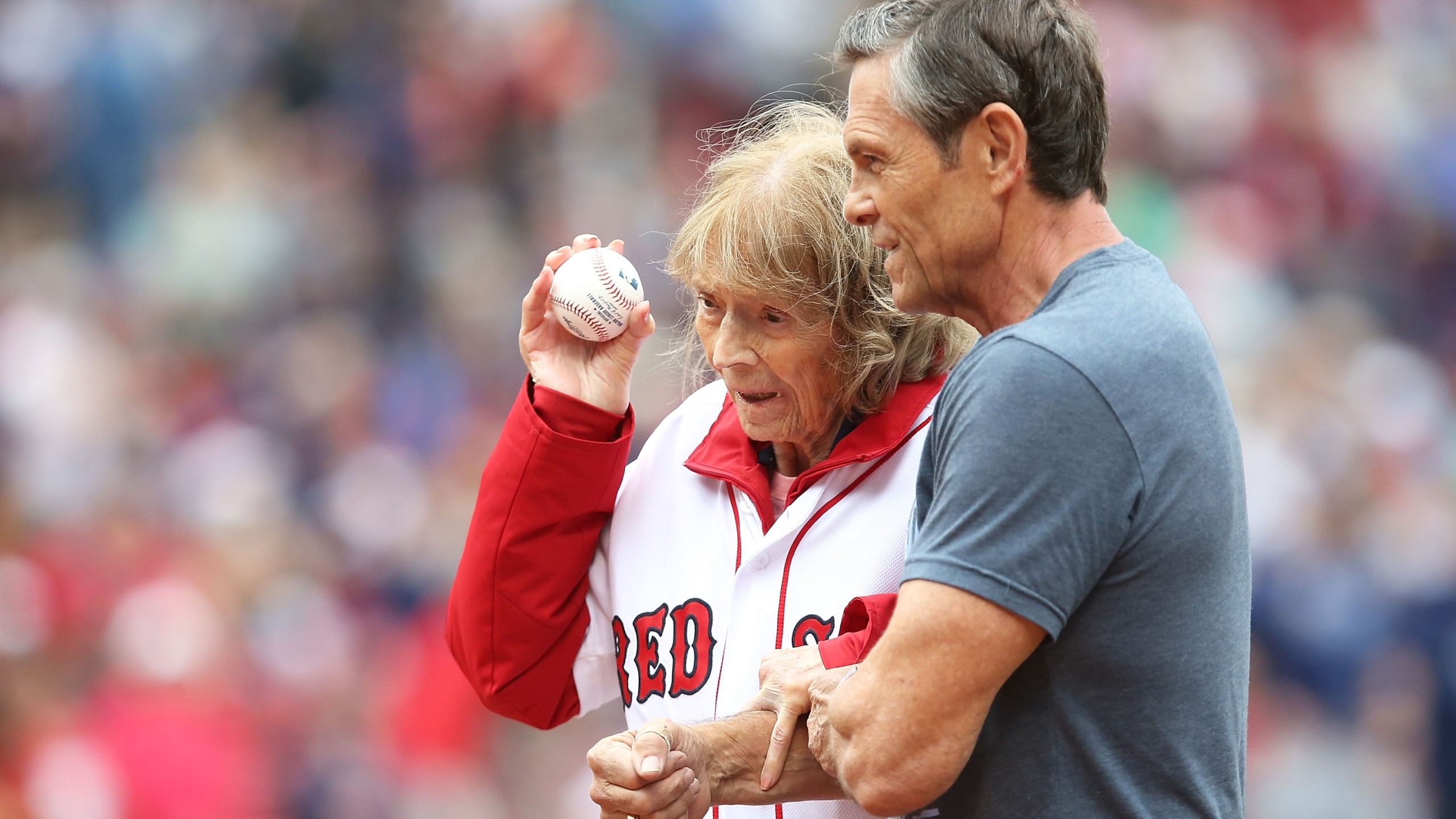 Julia Ruth Stevens throws out a ceremonial first pitch before a game between the Tampa Bay Rays and Boston Red Sox on July 9, 2016, at Fenway Park in Boston, Massachusetts. (Credit: Adam Glanzman/Getty Images)