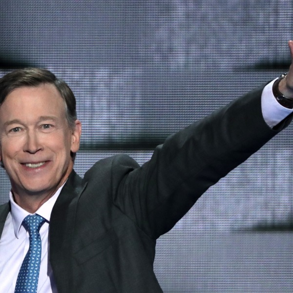 Colorado Governor John Hickenlooper (D-CO) waves to the crowd as he arrives on stage to deliver remarks on the fourth day of the Democratic National Convention at the Wells Fargo Center, July 28, 2016 in Philadelphia, Pennsylvania. (Credit: Alex Wong/Getty Images)