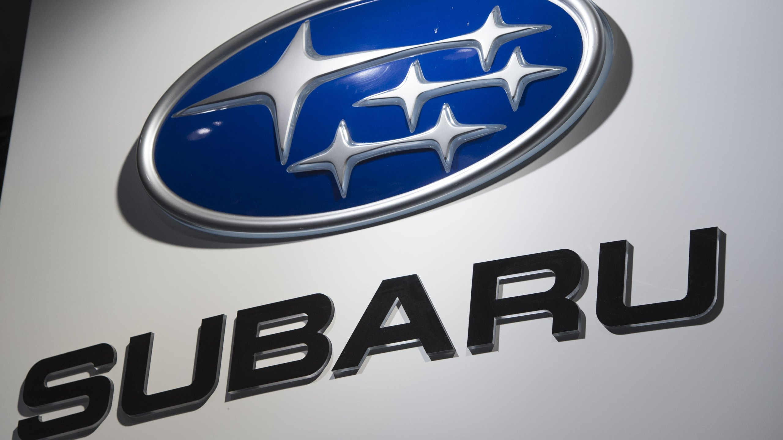The Subaru logo is seen during the 2017 North American International Auto Show in Detroit, Michigan on Jan. 10, 2017. (Credit: SAUL LOEB/AFP/Getty Images)