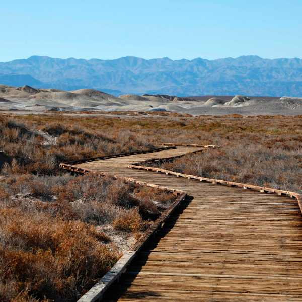 A general view of the boardwalk crossing Salt Creek in Death Valley National Park on Feb. 14, 2017. (Credit: Rhona Wise / AFP / Getty Images)
