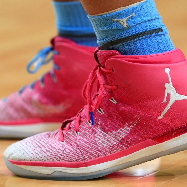 Air Jordan 31 sneakers worn by Tony Bradley #5 of the North Carolina Tar Heels during the 2017 NCAA Men's Final Four National Championship game at University of Phoenix Stadium on April 3, 2017, in Glendale, Arizona. (Credit: Ronald Martinez/Getty Images)