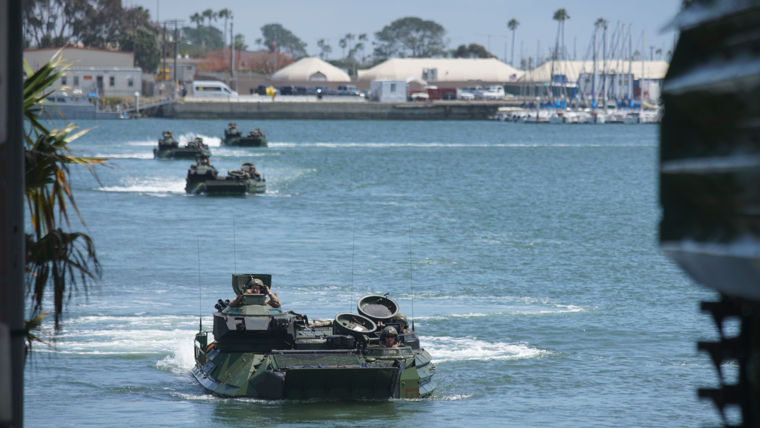 Amtrac vehicles return to shore during a homecoming reception at Camp Pendleton in Oceanside, Calif. on May 11, 2017. (Credit: SANDY HUFFAKER/AFP/Getty Images)