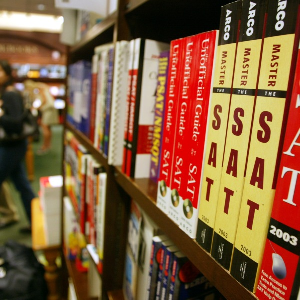 SAT test preparation books sit on a shelf at a Barnes and Noble store June 27, 2002, in New York City. (Credit: Mario Tama/Getty Images)