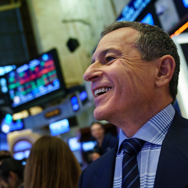 Bob Iger appears at the New York Stock Exchange before ringing the opening bell on Nov. 27, 2017 in New York City. (Credit: Angerer/Getty Images)