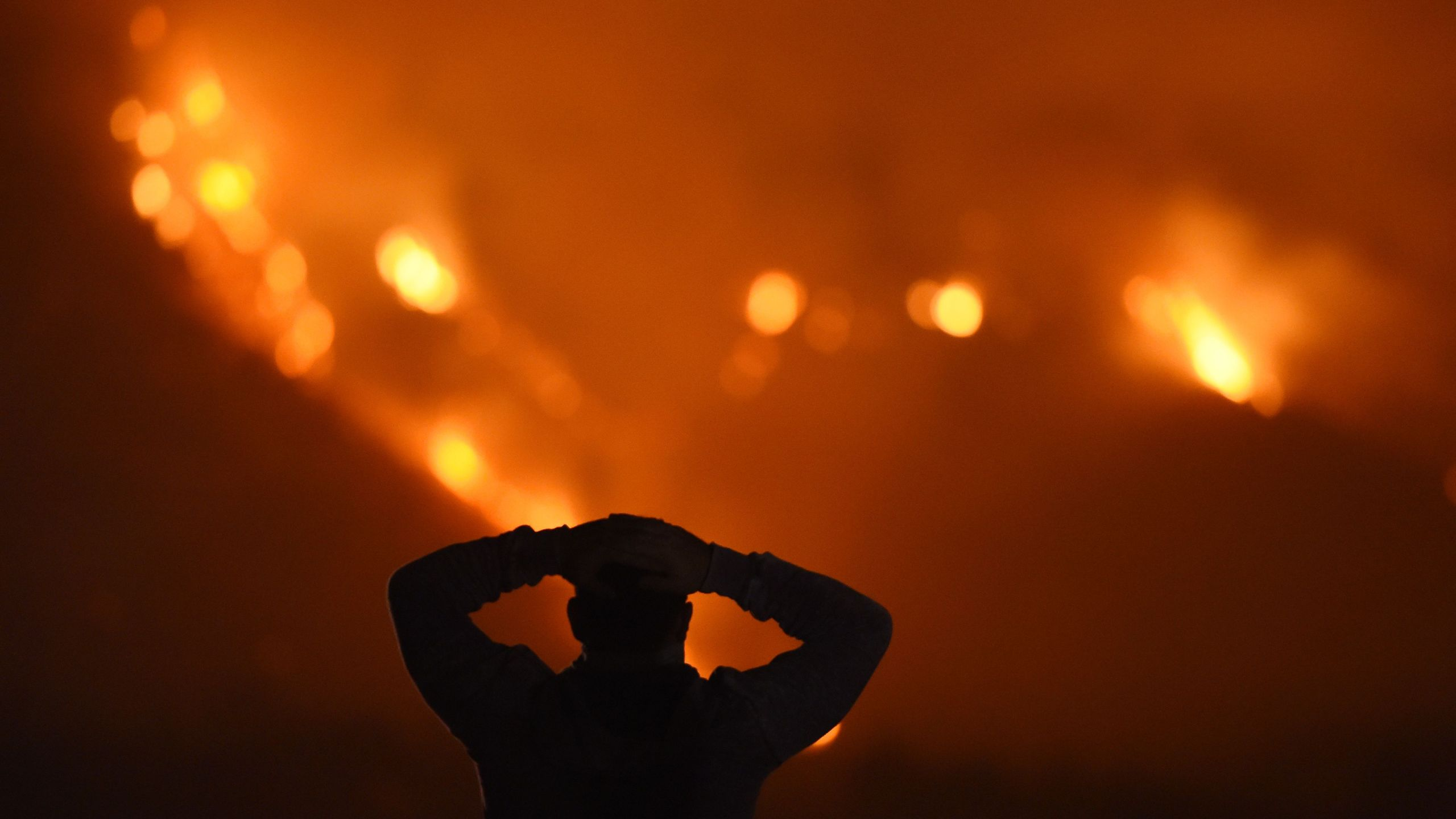 A man watches the Thomas Fire in the hills above Carpinteria on Dec. 11, 2017. (Credit: Robyn Beck / AFP / Getty Images)