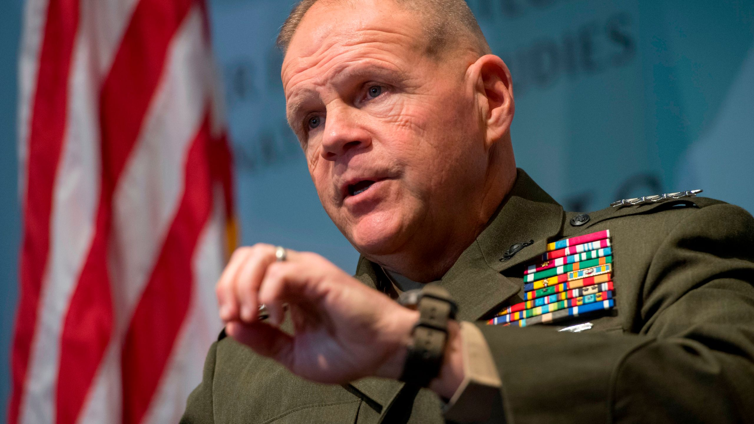 U.S. Marine Corps Commandant General Robert Neller speaks during a discussion at the Center for Strategic and International Studies in Washington, D.C, on Jan. 25, 2018. (Credit: SAUL LOEB/AFP/Getty Images)