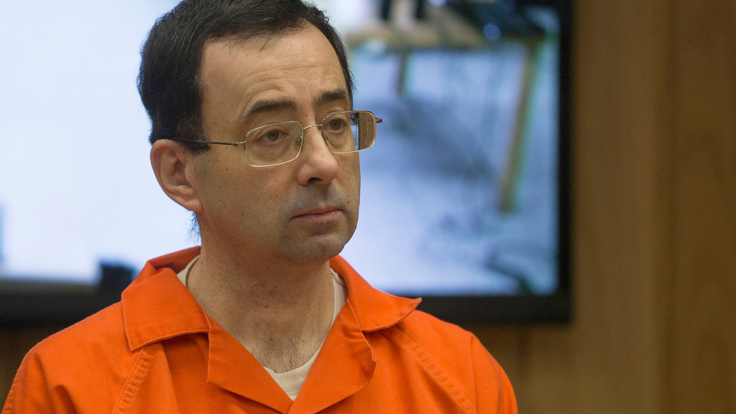 Former Michigan State University and USA Gymnastics doctor Larry Nassar appears in court for his final sentencing phase in Eaton County Circuit Court on Feb. 5, 2018, in Charlotte, Michigan. (Credit: RENA LAVERTY/AFP/Getty Images)