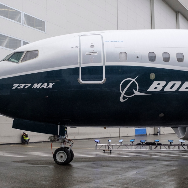 The first Boeing 737 MAX 7 aircraft sits on the tarmac outside of the Boeing factory on Feb. 5, 2018 in Renton, Washington. (Credit: Stephen Brashear/Getty Images)