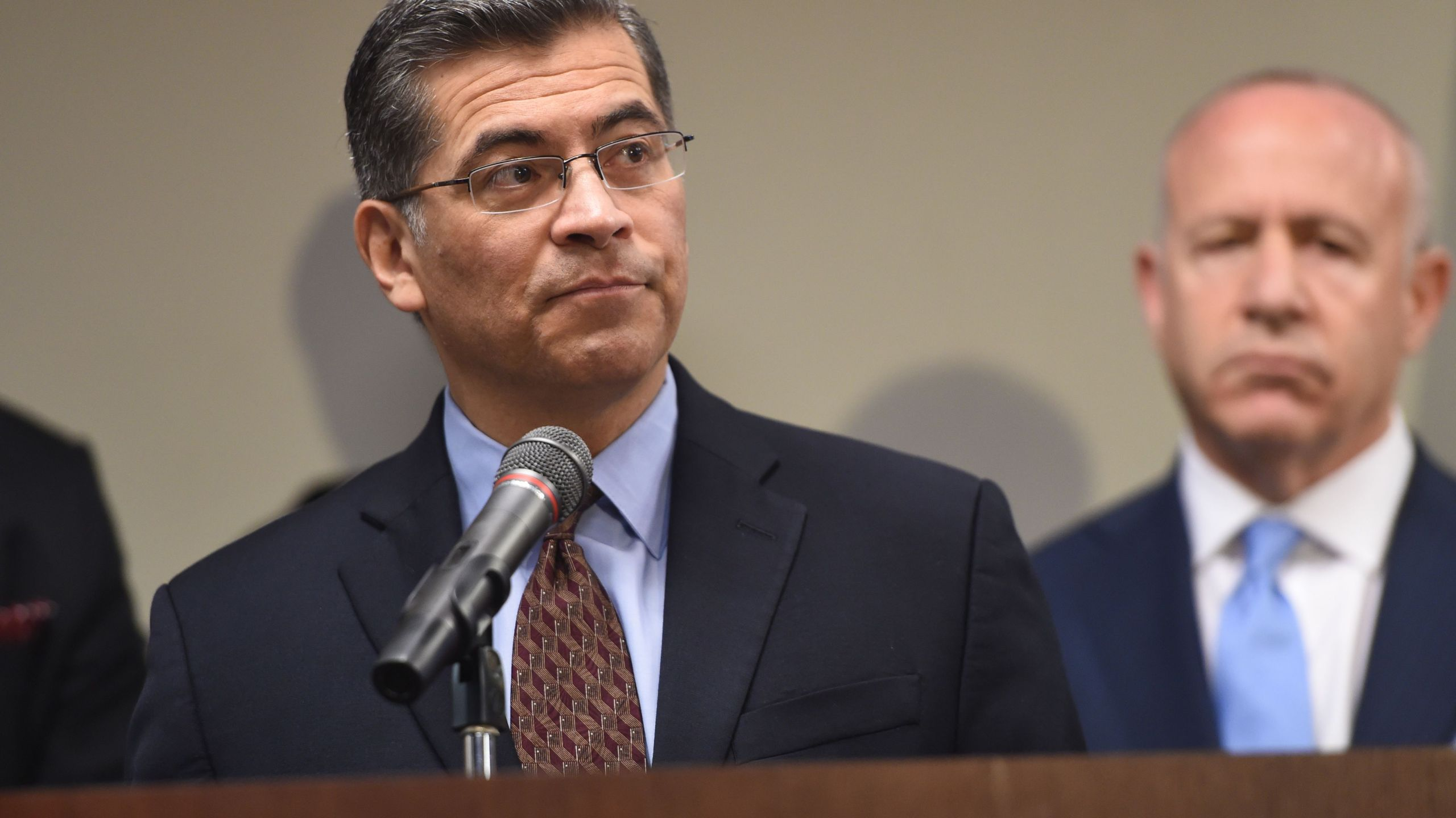 California Attorney General Xavier Becerra speaks during a news conference in Sacramento on March 27, 2018. (Credit:JOSH EDELSON/AFP/Getty Images)