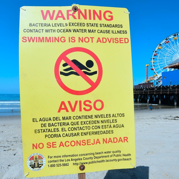 A warning sign is posted advising against swimming in the waters off Santa Monica State Beach on June 8, 2018. (Credit: Frderic J. Brown/AFP/Getty Images)