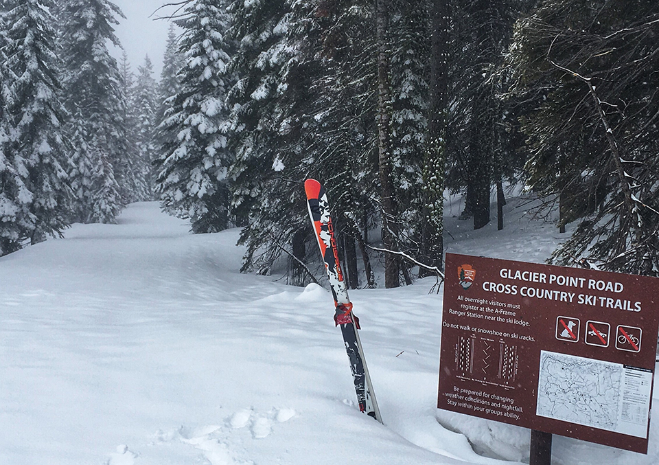 This March 2019 photo provided by the National Park Service shows the trailhead to Glacier Point cross-country ski trails in Yosemite National Park.