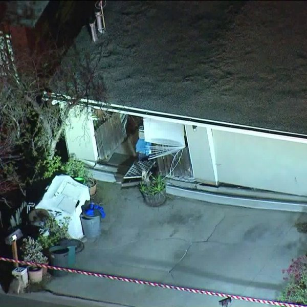 Emergency crews inspect a home that shifted and sustained structural damage in South Pasadena. (Credit: KTLA)