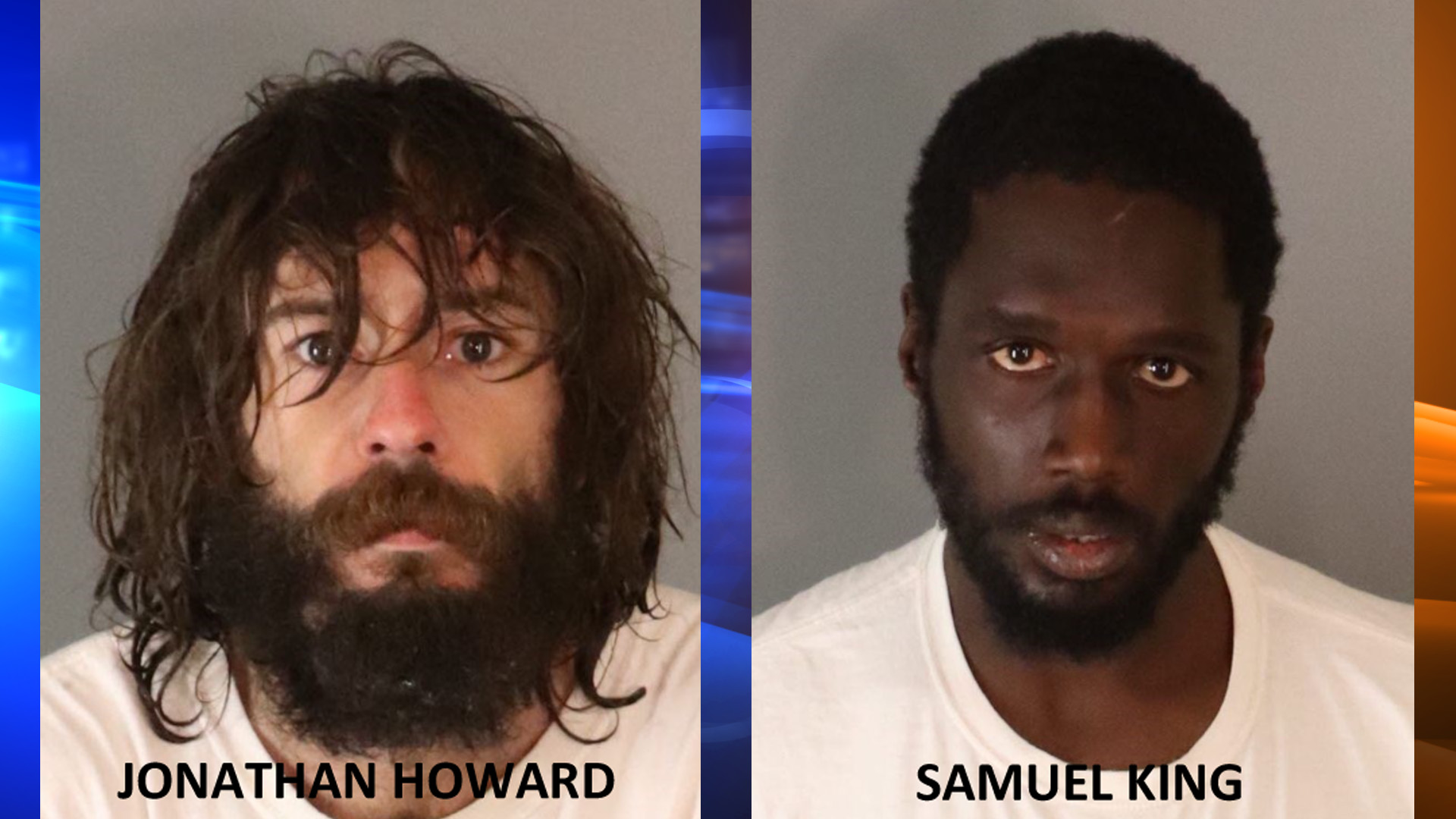 Arson suspects Jonathan Howard and Samuel King are seen in booking photos from the Riverside County Sheriff's Office.