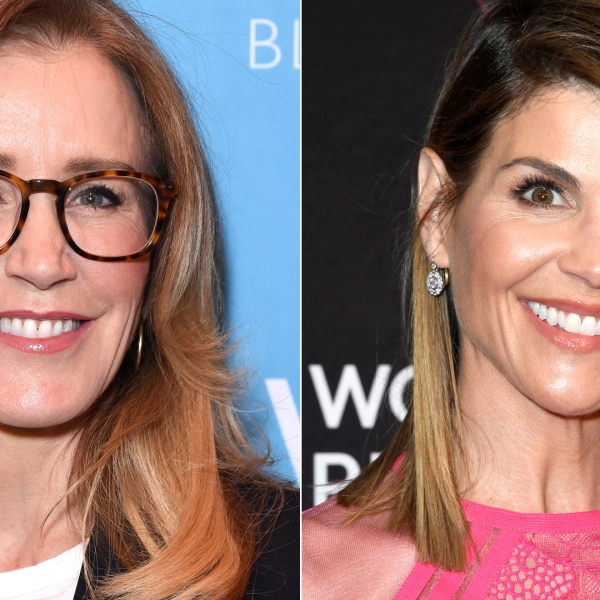 Felicity Huffman, left, appears at Four Seasons Hotel Los Angeles in Beverly Hills on Feb. 19, 2019. Lori Loughlin, right, appears at the Beverly Wilshire Four Seasons Hotel on Feb. 28, 2019. (Credit: Presley Ann/Getty Images for EMILY'S List; Frazer Harrison/Getty Images)