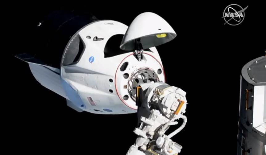SpaceX's Crew Dragon capsule arrives at the International Space Station on March 3, 2019. (Credit: NASA via Elon Musk/Twitter)