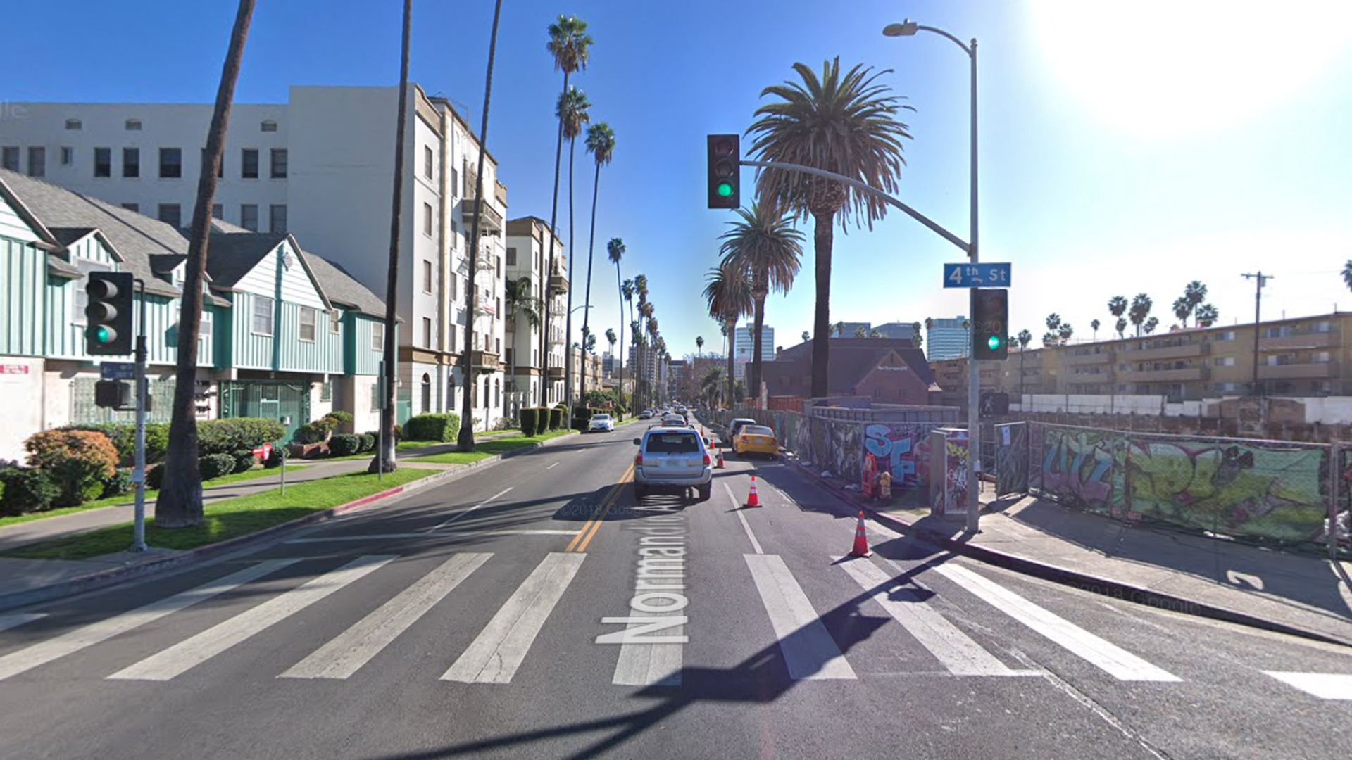 The 400 block of Normandie Avenue in Koreatown, as pictured in a Google Street View map in February of 2018.