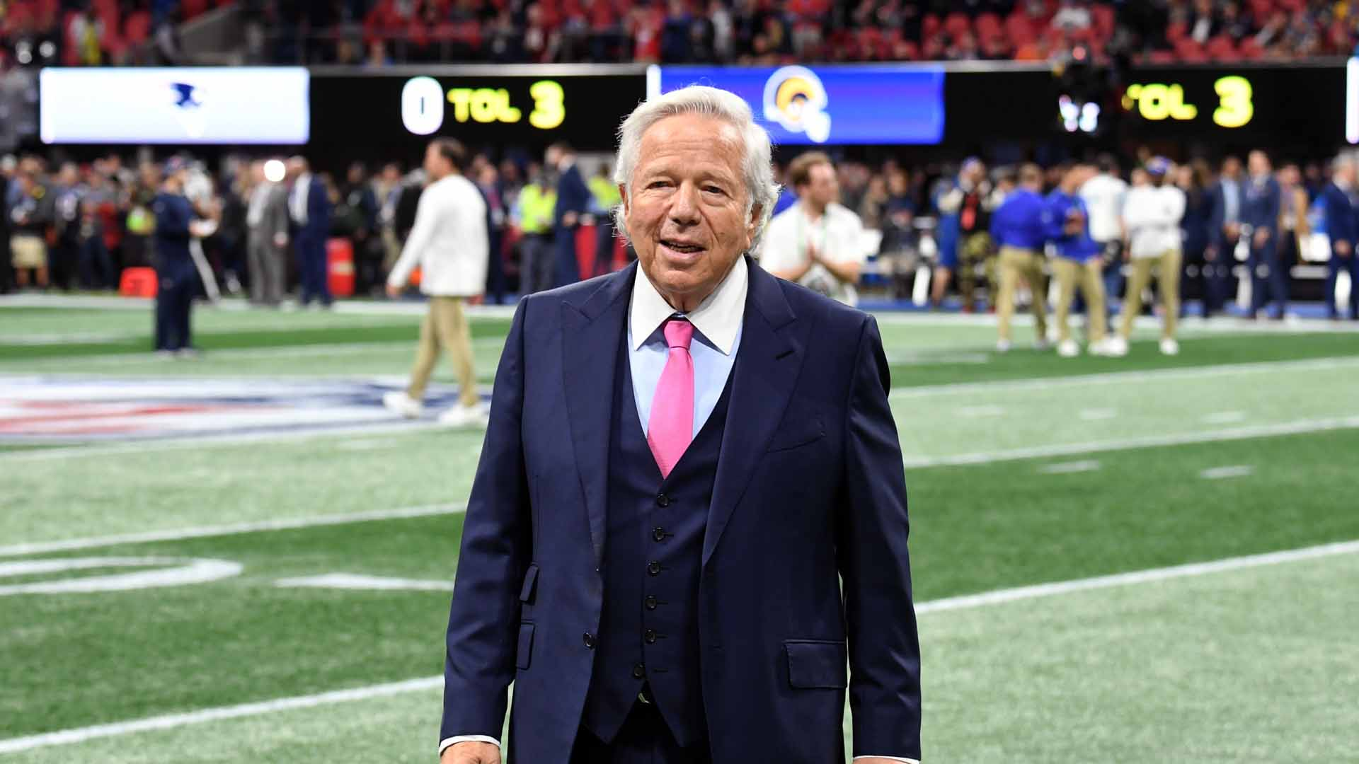 New England Patriots owner Robert Kraft attends the Super Bowl LIII Pregame at Mercedes-Benz Stadium in Atlanta on February 3, 2019. (Credit: Kevin Winter/Getty Images)