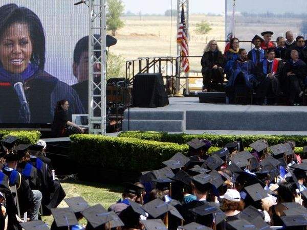 At the graduation ceremony for UC Merced in 2009, former First Lady Michelle Obama delivers the commencement address. (Credit: Genaro Molina / Los Angeles Times)
