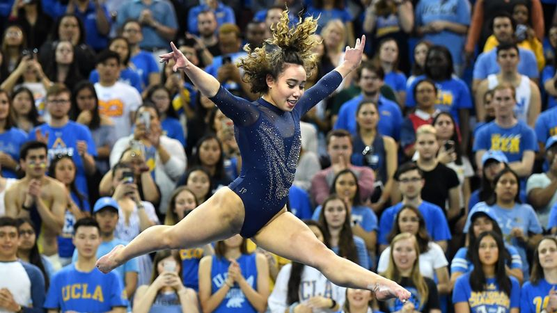 UCLA's Katelyn Ohashi gets a perfect score on the floor exercise during competition against Utah St. at Pauley Pavillion on March 16, 2019. (Credit: Wally Skalij / Los Angeles Times)