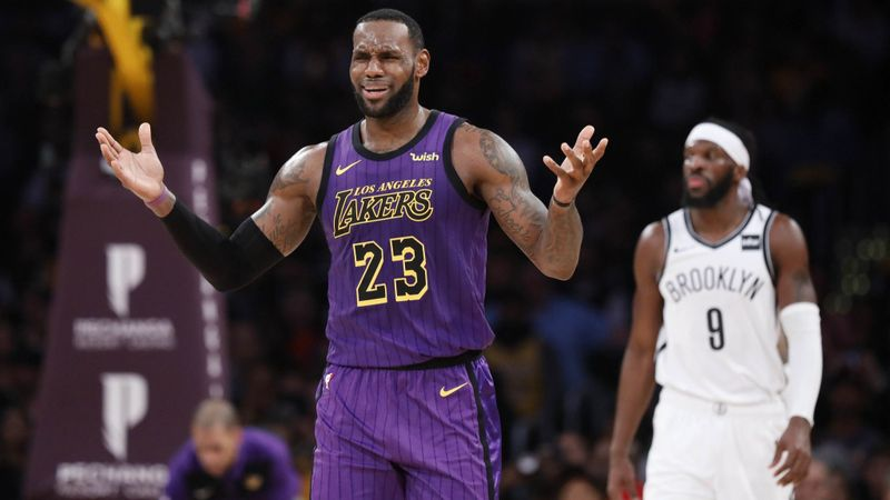The Lakers' LeBron James reacts to a call against the Brooklyn Nets during a game on March 22, 2019 at Staples Center. (Credit: Gary Coronado / Los Angeles Times)