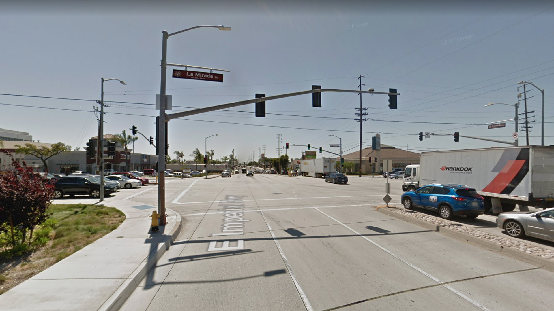 The intersection of Imperial Highway and La Mirada Boulevard in La Mirada, as pictured in a Google Street View image in May of 2017.