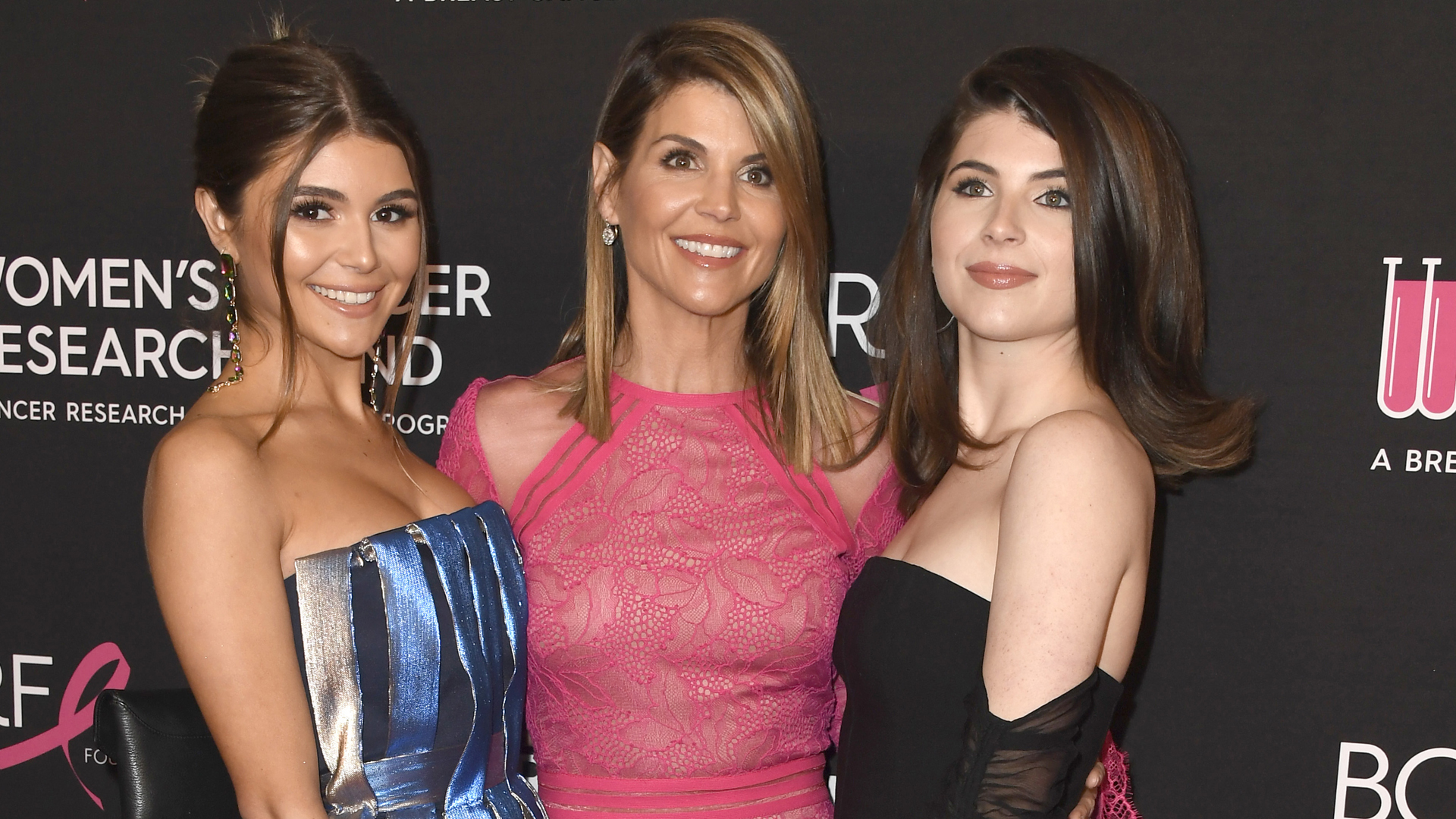 Olivia Jade Giannulli, Lori Loughlin and Isabella Rose Giannulli attend The Women's Cancer Research Fund's An Unforgettable Evening Benefit Gala at the Beverly Wilshire Four Seasons Hotel on Feb. 28, 2019, in Beverly Hills. (Credit: Frazer Harrison/Getty Images)
