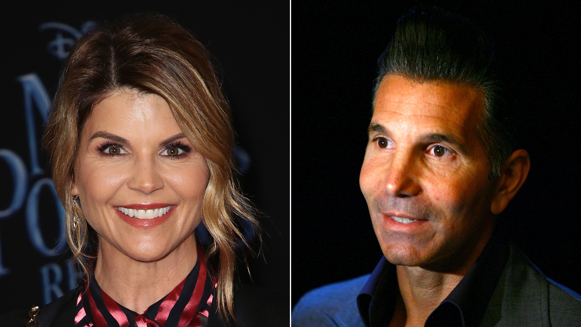 """From left: Lori Loughlin attends the """"Mary Poppins Returns"""" premiere at the El Capitan Theatre in Los Angeles on Nov. 29, 2018, and Mossimo Giannulli attends a Target fashion show in New York City on Nov. 6, 2007. (Credit: David Livingston / Scott Wintrow / Getty Images)"""