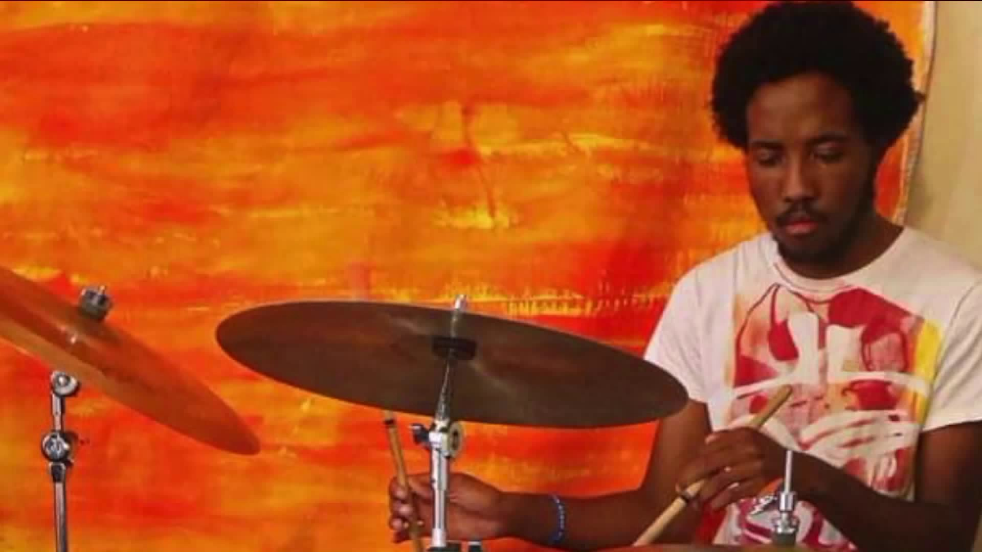 USC student Victor McElhaney is pictured playing drums. McElhaney died after he was shot near the USC campus.