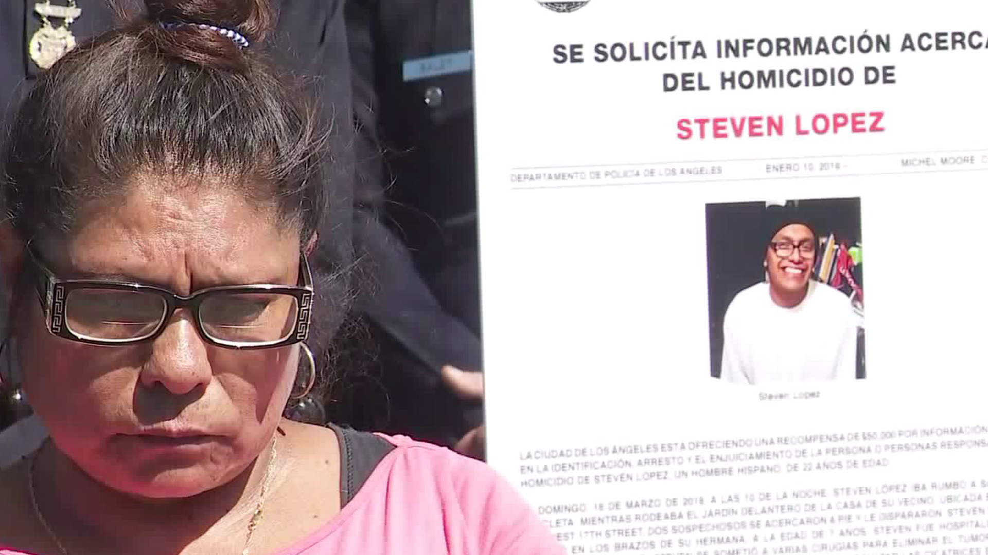 The mother of Steven Lopez, Flavia, addresses reporters on March 12, 2019, as she and police urge for someone to come forward and help solve her son's killing in Mid-City nearly a year earlier on March 18, 2018. (Credit: KTLA)