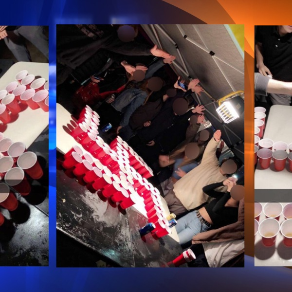 These images show presumed Newport-Mesa students at a party pictured giving a Nazi salute with a swastika made from red plastic cups. (Photos sent by viewers)