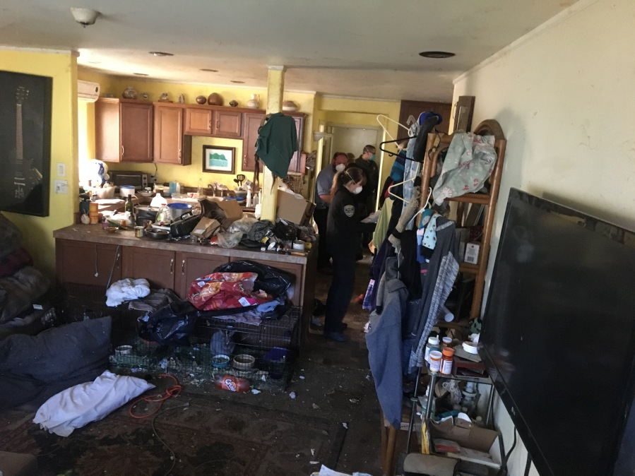 A photo released by Ventura County sheriff's officials shows the unkempt conditions on March 14, 2019, as investigators evaluate the kitchen and living room areas of an Ojai home that is the subject of an elder and animal abuse investigation.