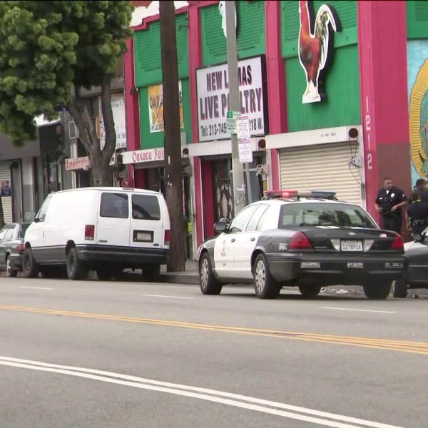 Police investigate a shooting in Pico Union Sunday morning. (Credit: KTLA)