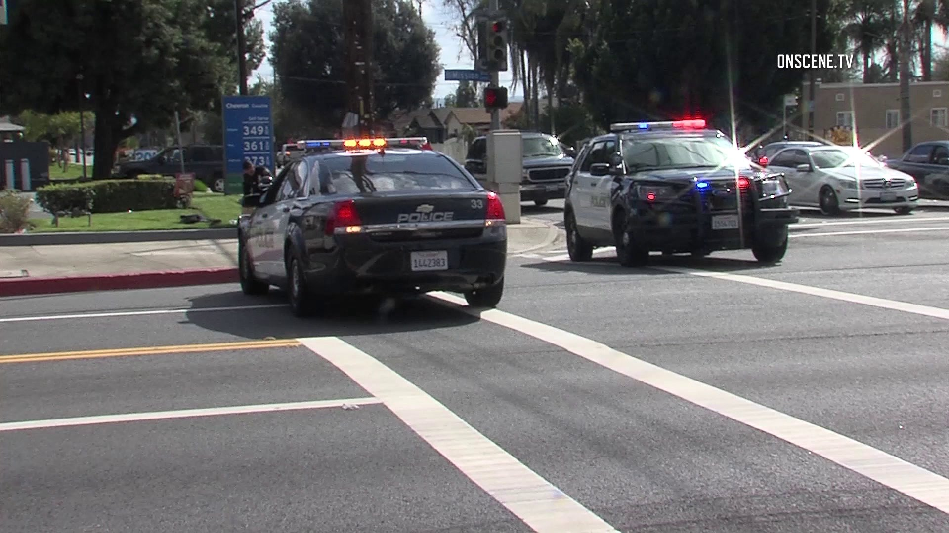 Police investigate the scene of a stabbing that left a woman dead and a man injured outside a homeless shelter at 1400 E. Mission Blvd. in Pomona on March 9, 2019. (Credit: OnScene)