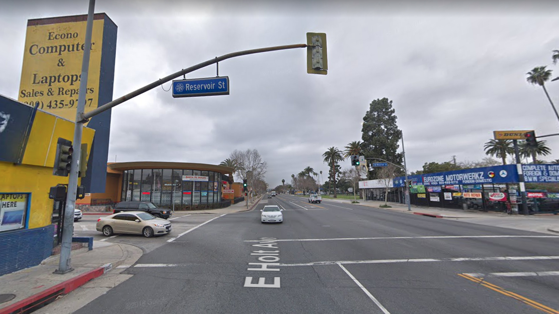 The intersection of Holt Avenue and Reservoir Street in Pomona, as pictured in a Google Street View image in April of 2018.
