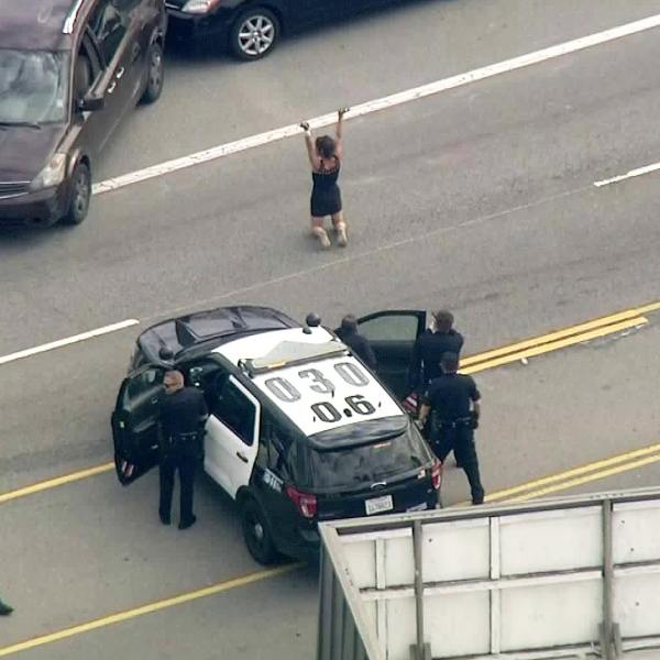 A driver chased by police along the 101 Freeway on March 5, 2019, is seen surrendering to officers in the area of Echo Park. (Credit: KTLA)