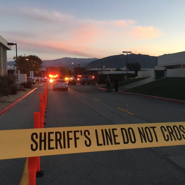 Authorities respond to the scene of a police shooting at Eisenhower Health in Rancho Mirage on March 4, 2019. (Credit: Riverside County Sheriff's Department)