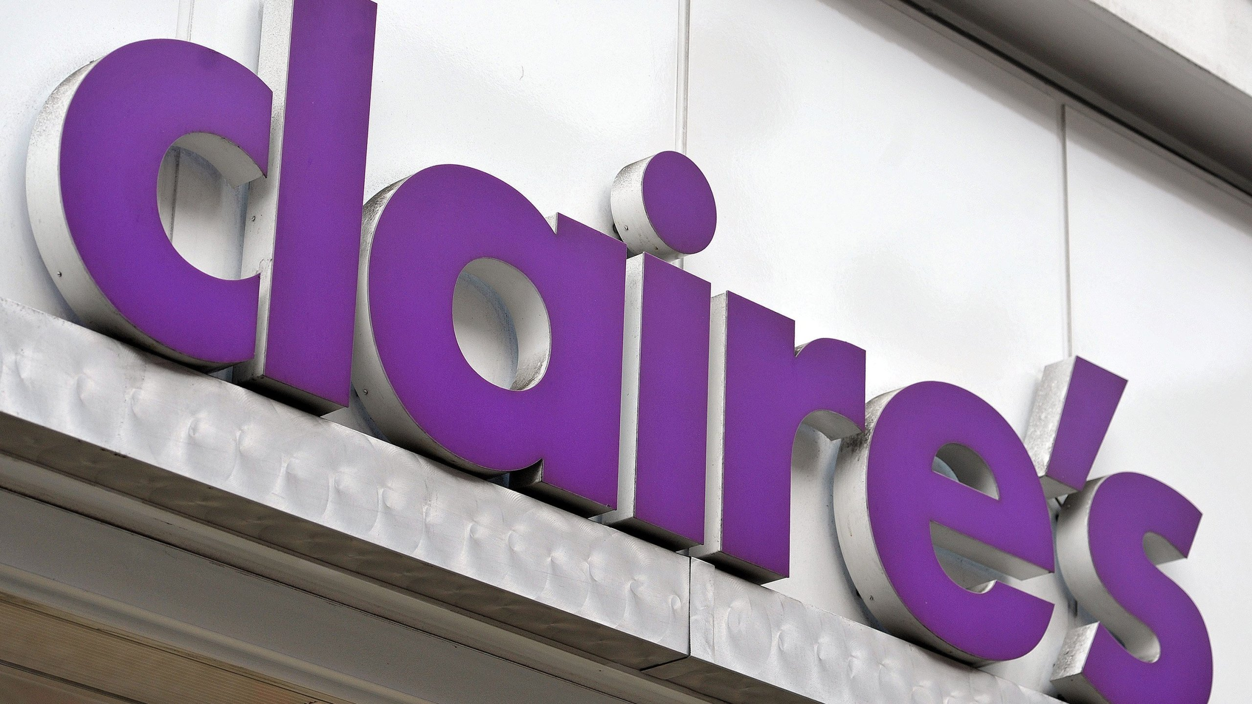 A sign over a Claire's store is seen in an undated photo. (Credit: CNN)