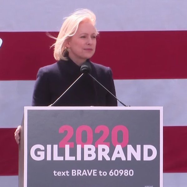 New York Sen. Kirsten Gillibrand delivering a speech in front of Trump International Hotel, kicking off her bid for the Democratic presidential nomination on March 24, 2019. (Credit: CNN)